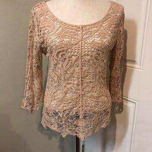 Tan battenberg scallop floral lace blouse top